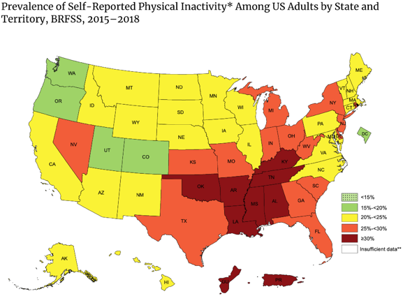Prevalence of Self-Reported Inactivity Among US Adults by State and Territory