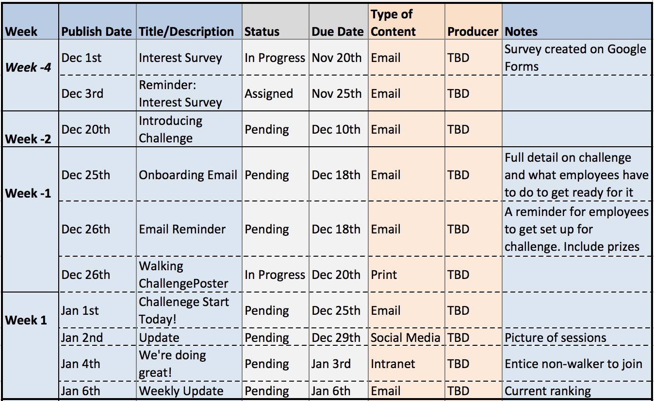 communication calendar for wellness program example